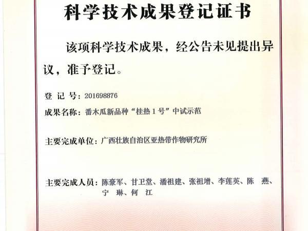 """番木瓜新品种""""桂热1号""""中试示范登记证书"""